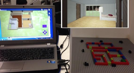 タンジブルUIを使った不動産探索マップ、LEGOのブロックで家作り体験!の画像