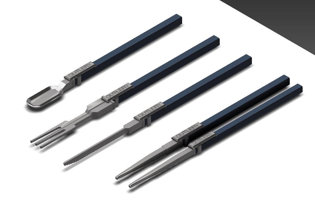 角パイプ型カトラリー(スプーン、ナイフ、お箸、フォーク)