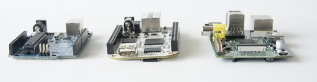 Left to right: Arduino Uno, BeagleBone, Raspberry Pi