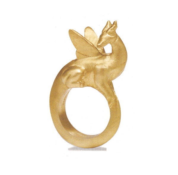 A gold dragon ring, handcrafted by an artisan's metal cast wax sculptures