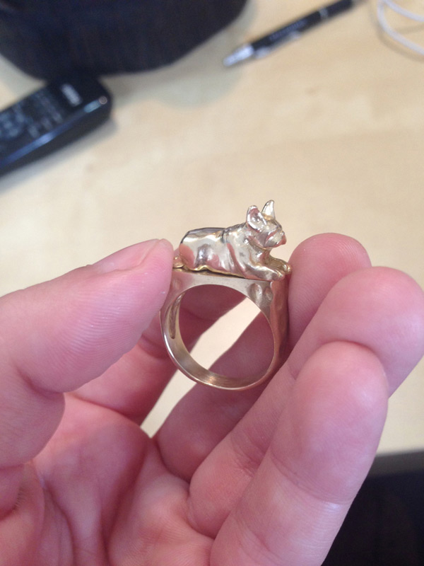 A finished bulldog ring, created by covering the wax sculpture in silver, brass, bronze, or gold