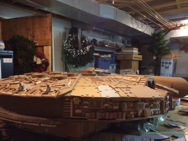 hfxicwp imgur Star Wars Fan Creates Insanely Detailed Cardboard Millennium Falcon