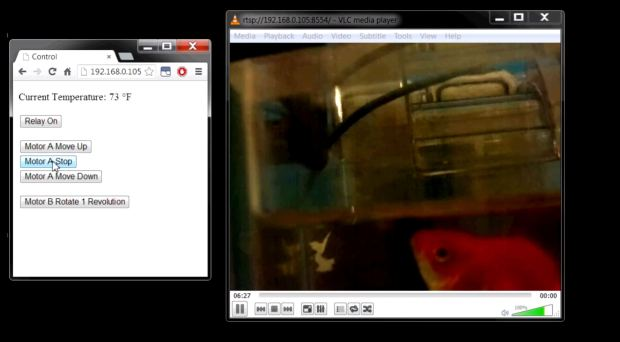 Not every pet has fur, some have scales but they're loved just as much and like most pet owners, there are times that they are away from home. In those cases automatic feeders come in handy, which is why I designed my Raspberry Pi Remote Fish Tank Controls (AKA- Project Goldie). The platform makes use of an RPi, Pi camera and Arduino Uno, which allows me to both feed and monitor my fish over the internet in real time.
