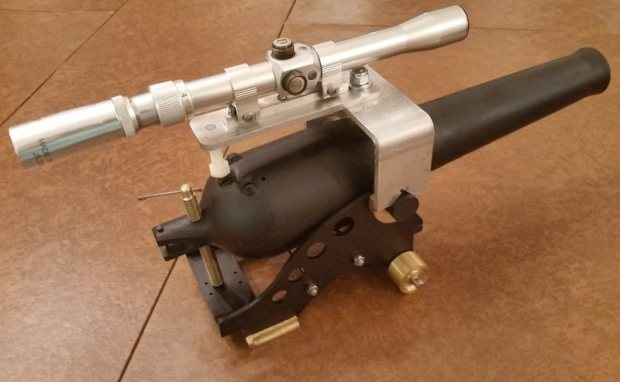 Scope it out- Sighting in the cannon is done using a custom-made scope that attaches to the barrel.