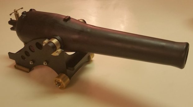 It may look like a toy but make no mistake, this cannon fires steel ball bearings using real gunpowder.
