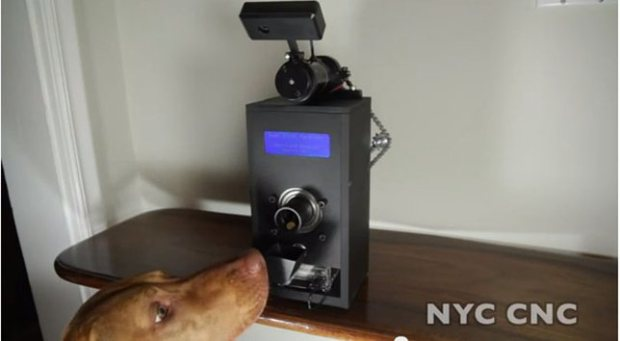 Sometimes our pets can get a little out of control when we're away from home and other times they are well behaved, it's in that instance that we wish we could give them a treat for not destroying the home. John from NYC CNC knows this all too well and has designed a remote treat dispenser just for those occasions. Known as the Judd Treat Machine (after his dog), the dispenser is outfitted with a Raspberry Pi, LCD and webcam to see the pet remotely and release treats as needed.