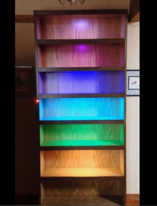 shelf1 A Sound Reactive RGB LED Bookshelf