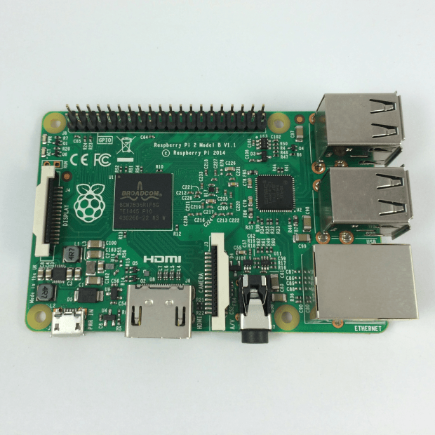 The front of the new Raspberry Pi 2 featuring the new BCM2836 processor (left). The second chip on the board (right) is the LAN9154 USB hub and Ethernet Controller.